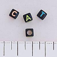 Фурнитура бусина чёрная ассорти буквы, пластик, цена за 1 шт