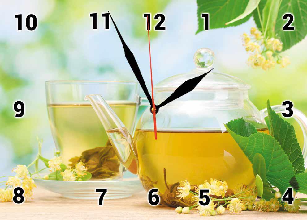 Годинники настінні скляні Т-Ок 002 Зелений чай з липою SG-2503501 кухонні