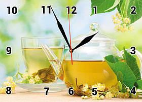 Часы настенные стеклянные Т-Ок 002 Зеленый чай с липой SG-2503501 кухонные
