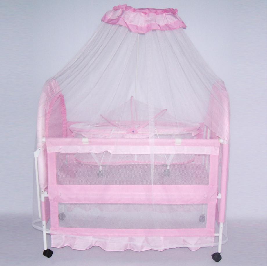 Кроватка детская металлическая с колесиками XG9136 ***