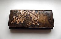 Женский кожаный кошелёк ручной работы , фото 1
