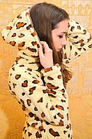 Красивая теплая пижама женская с леопардовым принтом, фото 1