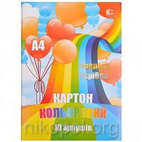 Цветной картон для аппликаций 10 листов А4 золото/серебро