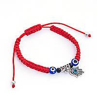 Браслетик красный на удачу защита от сглаза, плетеный, с амулетом Хамса и бусинами