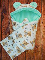 """Зимний конверт для новорожденного. Конверт-одеяло """"Медвежонок""""на выписку"""