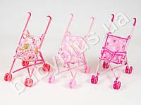 Кукольная коляска-трость, двойные колеса, выс.до руч 47см, 3 цвета, в кульке