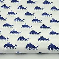"""Хлопок 50х40 см """"Синие киты"""" на белом"""