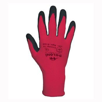Перчатки DOLONI (4150) червоні нейлонові з латексн