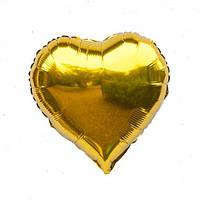 """Шар сердце фольгированное золотое 18"""" 45 см"""