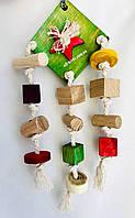 Подвесная игрушка для попугаев из дуба и бука., фото 1