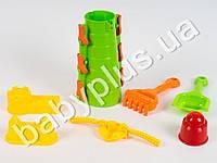 Набор для песочницы, замок, лопатка, грабли, формочки 3шт, сито, в сумке