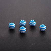 Бусина голубая белая полоска Ø 8 mm