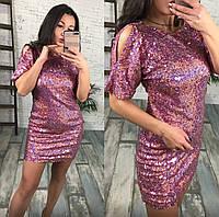 """Облегающее нарядное мини-платье """"Shine"""" с пайетками и вырезом на спине (3 цвета)"""