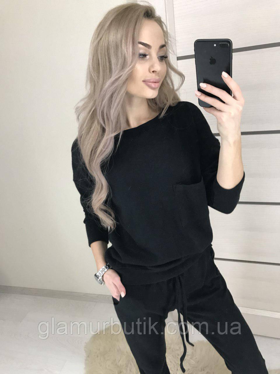 d1798e236b35d Стильный женский ангоровый костюм свитер кофта брюки штаны с карманами  чёрный - GlamurButik - женская одежда