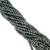 Бусины под Хрусталь Зелено-синие зеркальные Рондель 6 мм 100 шт/нить