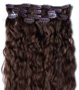 Набор натуральных кудрявых волос на клипсах 52 см. Оттенок №4. Масса: 110 грамм.
