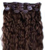 Набор натуральных кучерявых волос на клипсах 52 см. Оттенок №4. Масса: 110 грамм.