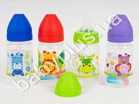 Бутылка для кормления Животные, круглая с широким горлышком с силиконовой соской (медл.поток), 250мл, 4 вида