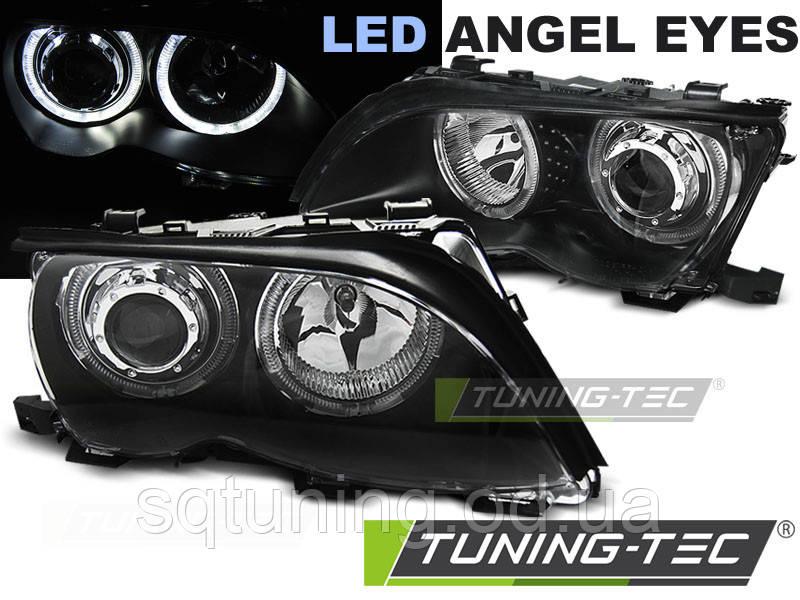Фары BMW E46 09.01-03.05 ANGEL EYES LED BLACK