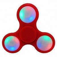 Спиннер антистресс Fidget hand spinner ручной пластиковый фиджет спинер с LED подсветкой FSL2 красный