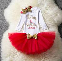 Праздничный комплект на девочку на 1 годик, красный