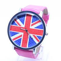 Наручные часы флаг Великобритании Малиновые