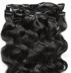 Набор натуральных вьющихся волос на клипсах 52 см. Оттенок №1. Масса: 110 грамм.