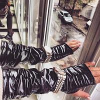 Черные кожаные перчатки-митенки из экокожи 14691RA