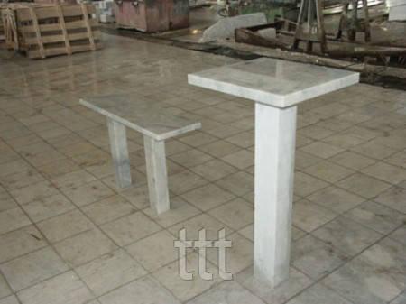 Стол со скамейкой из мрамора № 6