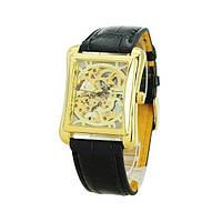 Часы мужские наручные прямоугольные механические Winner Skeleton New Gold