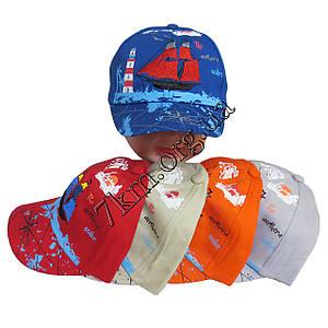 """Кепка детская для мальчиков """"Кораблик"""" 50 р. (котон) с резинкой сзади Вьетнам Оптом 5272"""