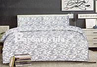 Постельное белье двуспальное с евро простыней - белые узоры на сером