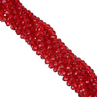 Бусины под Хрусталь Красные прозрачные Рондель 6 мм 100 шт/нить