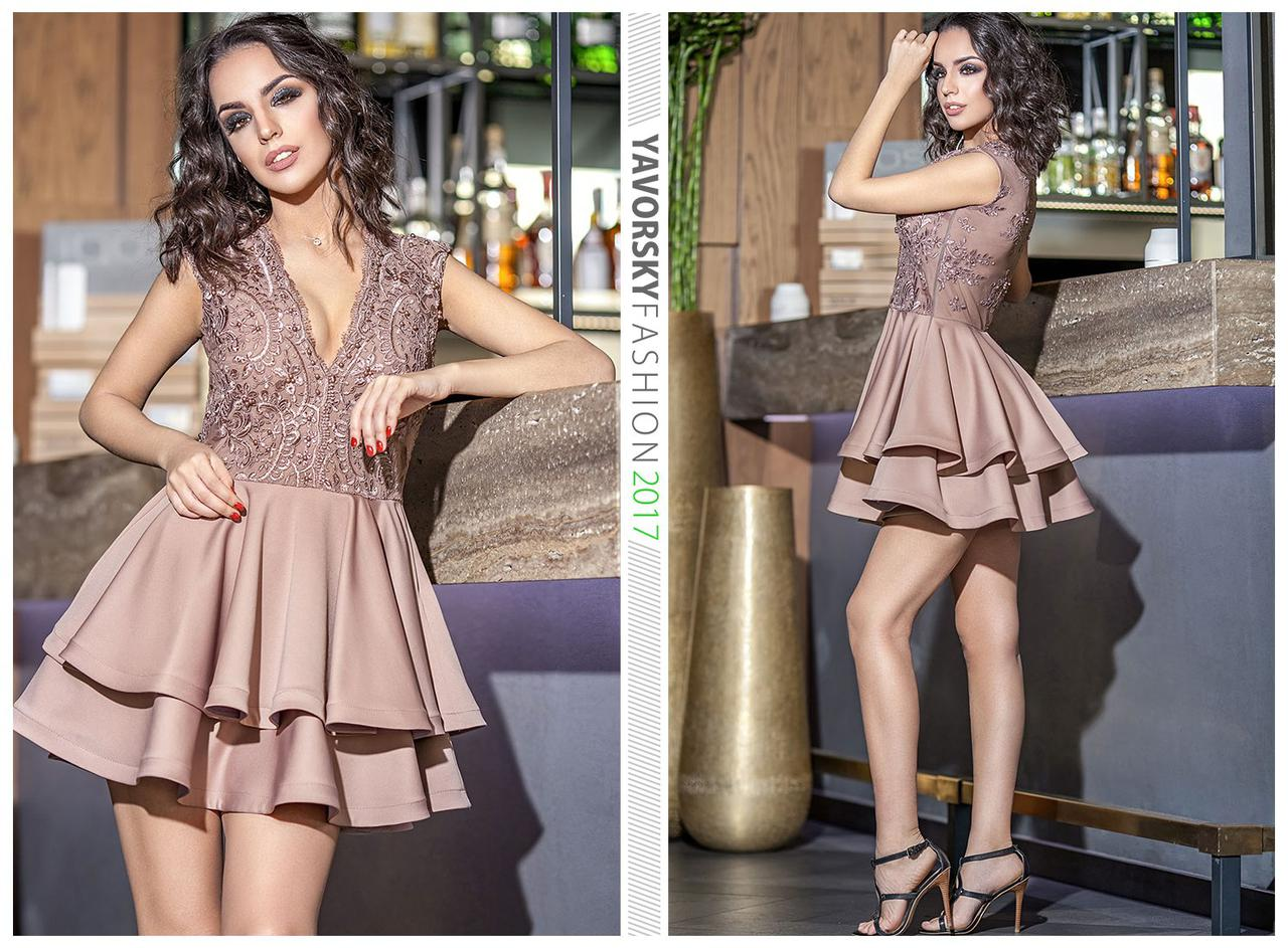 ab007d576fd Женское вечернее платье с пышной юбкой и кружевным верхом с бусинками  Шантель -