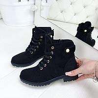 Женские деми ботинки черные экозамш на шнурках