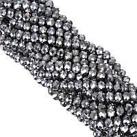 Бусины под Хрусталь Серебряные зеркальные Рондель 4 мм 150 шт/нить