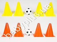 Конус-барьер для тренировок, 4шт, мяч резин, 2 цвета, в сетке