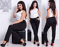 """Теплые трикотажные женские брюки """"Annette"""" с карманами (большие размеры)"""
