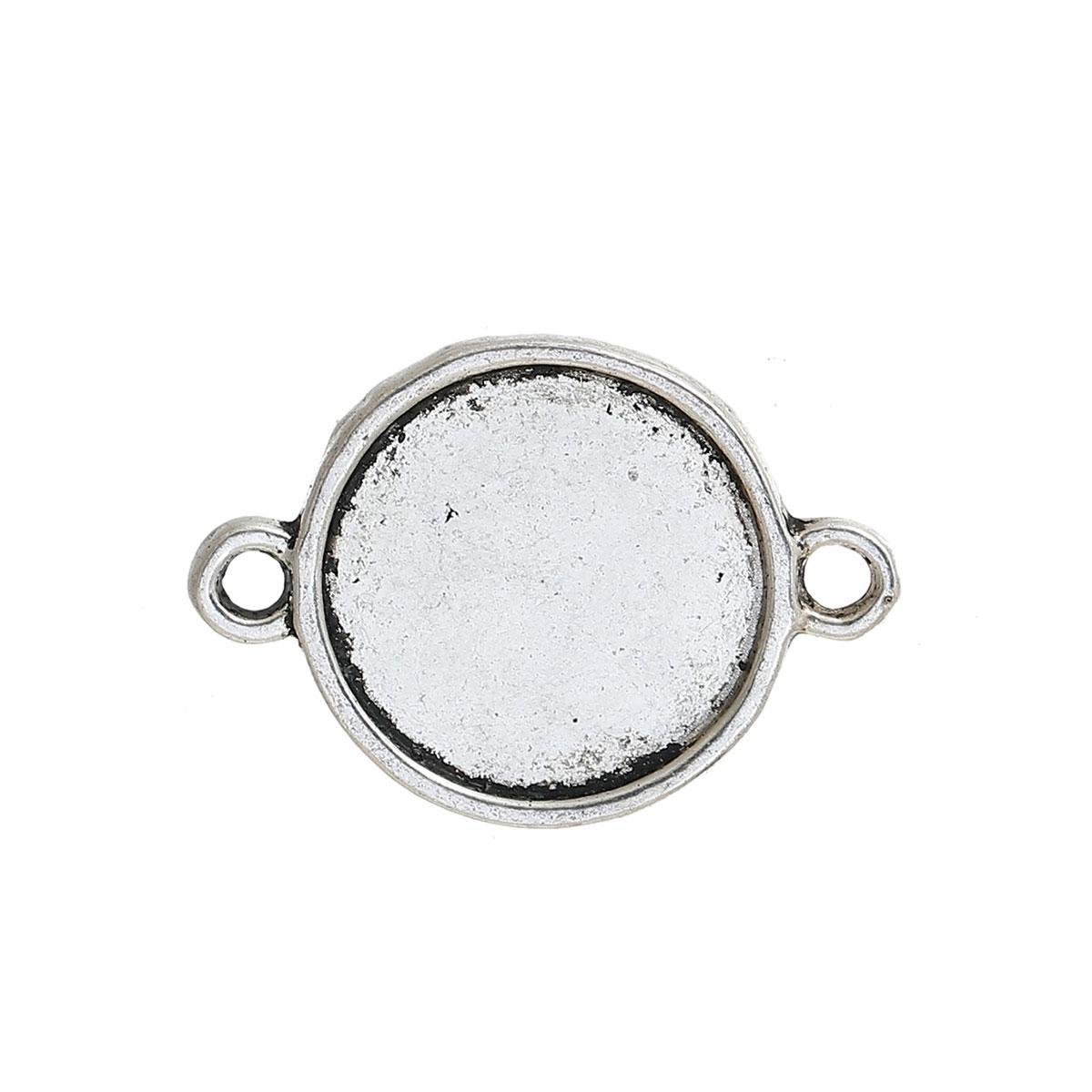Конектор Круглий, Колір: Античне срібло, Основа для Кабошона (для 12 мм), 20 мм x 14 мм