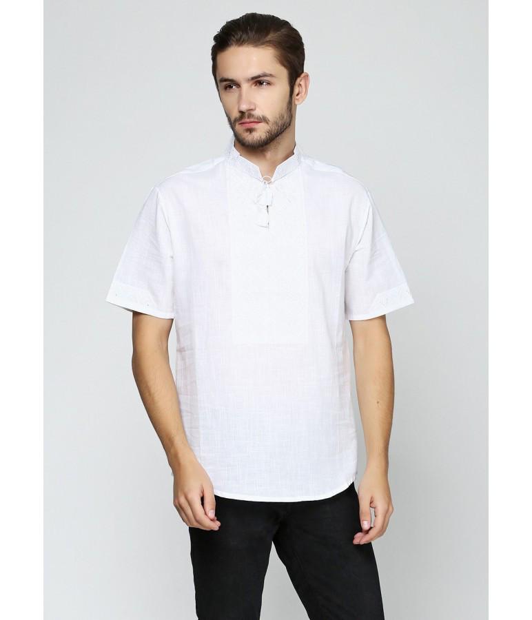 Вышитая футболка. Мужская футболка в украинском стиле. Белая мужская вышиванка.