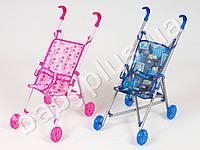 Кукольная коляска металлическая, трость, колеса светящиеся, 3 цвета, в кульке (в наличии только розовая)