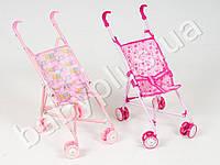Кукольная коляска металлическая, трость, двойные колеса, поворот, 3 цвета, в кульке