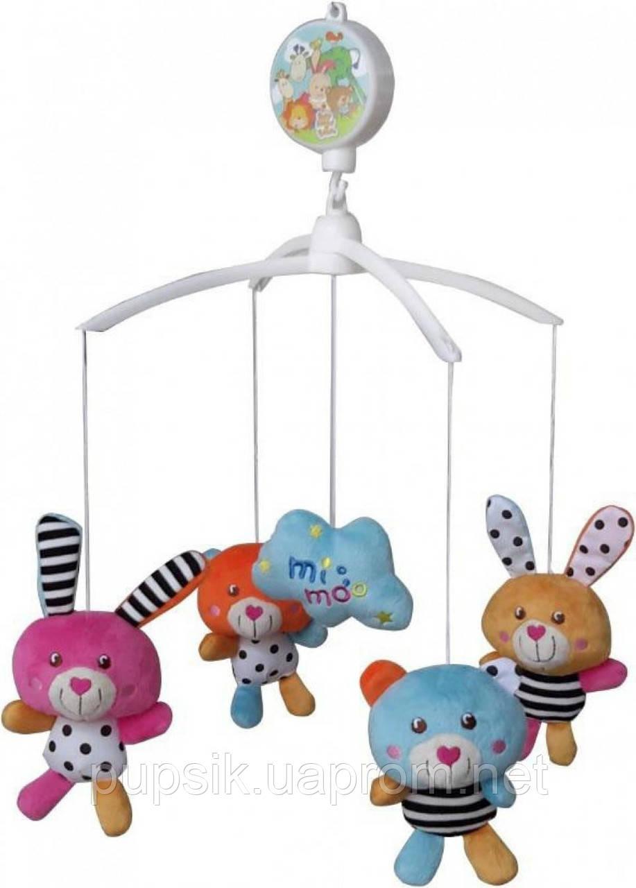 Музыкальный мобиль Baby Mix 387M Мишки и кролики (Мягкие игрушки)