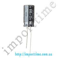 Конденсатор электролитический 680мкФx 25В, 105°C, 10x16
