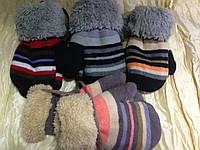 Варежки детские с меховой подкладкой 1-3 года разные цвета