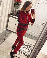 Бархатный женский спортивный костюм с отделкой 3305183
