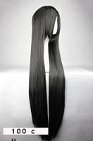 Искусственный длинный черный парик 100 см
