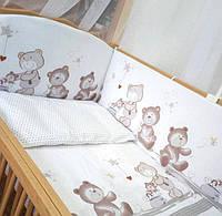 """Постельный набор для новорожденных  """"Ведмедики горошок""""  6ед.(Защита на всю кроватку, 4 части)"""