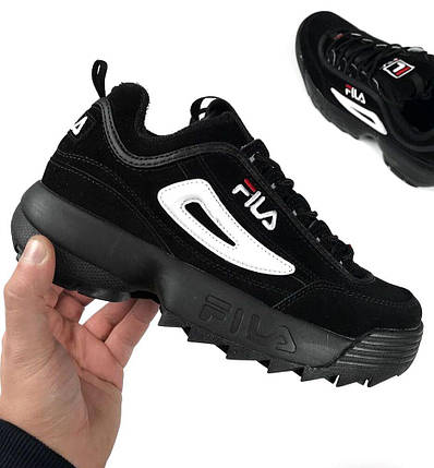 Мужские и женские кроссовки в стиле Fila Disruptor 2(II) Black, фото 2