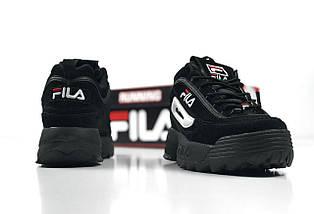 Мужские и женские кроссовки в стиле Fila Disruptor 2(II) Black, фото 3